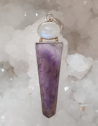 Amethyst and Moonstone Flat pint silver pendant